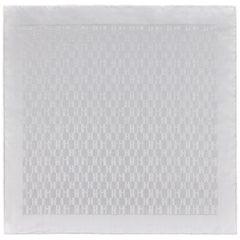 "HERMES ""Faconnee Grand H"" Off White Monogram H Logo Silk Pocket Square / Scarf"