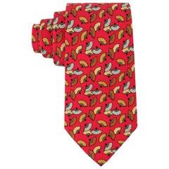 HERMES Red Japanese Fan Print 5 Fold Silk Necktie Tie 7237 MA