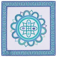 EMILIO PUCCI c.1970's Signature Geometric Op Art Print Handkerchief / Scarf NOS