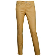 Ralph Lauren Purple Label NWT Nude Leather Skinny Slacks Pants Sz 6