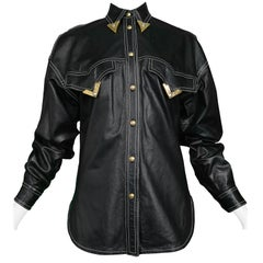 Vintage Gianni Versace F/W 1991 Leather Western Shirt