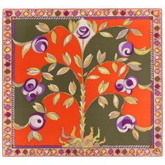 EMILIO PUCCI c.1960's Orange Forest Green Rose Floral Signature Print Silk Scarf