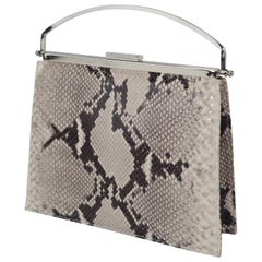 Vintage Neiman Marcus Python Printed Leather Handbag With Silver Handle