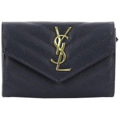 Saint Laurent Classic Monogram Flap Wallet Matelasse Chevron Leather Small
