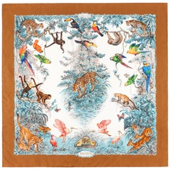 "HERMES Robert Dallet c.1988 ""Equateur"" Tan Brown Jungle Exotic Animal Silk Scarf"