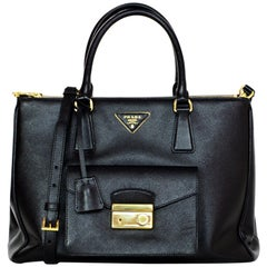Prada Black Saffiano Lux Leather Pocket Tote Bag W/ Removable Strap & Dust Bag
