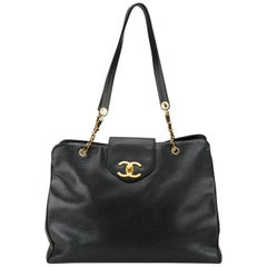 Chanel Black Caviar Supermodel Overnight Weekender Travel Tote Shoulder Bag