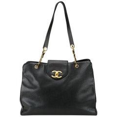 Chanel Black Caviar Supermodel Overnight Weekender Travel Tote Shoulder Bag