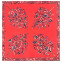 "EMILIO PUCCI c.1972 ""Violacciocca"" Signature Print Hot Pink Floral Silk Scarf"