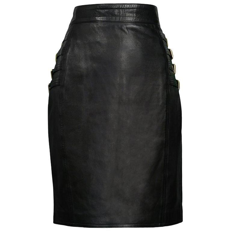18c9f7dd Vintage Gianni Versace F/W 1992 Leather Bondage Skirt