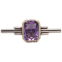 Antique Victorian Art Deco Amethyst & Seeded Pearl Sterling Silver Brooch / Pin