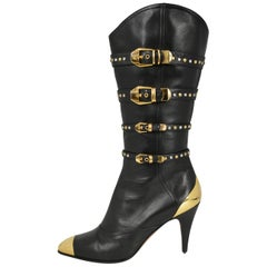 Vintage Gianni Versace F/W 1992 Leather & Gold Studded Western Boots