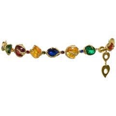 Vintage Yves Saint Laurent 1980's Multicolor Jeweled Chain Belt
