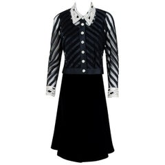 1992 Valentino Couture Sheer-Illusion Beaded Silk & Velvet Dress Jacket Ensemble