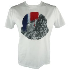 MONCLER Size XL White Graphic Cotton T-shirt