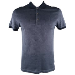 BOTTEGA VENETA Size M Navy Rhombus Cotton Buttoned POLO