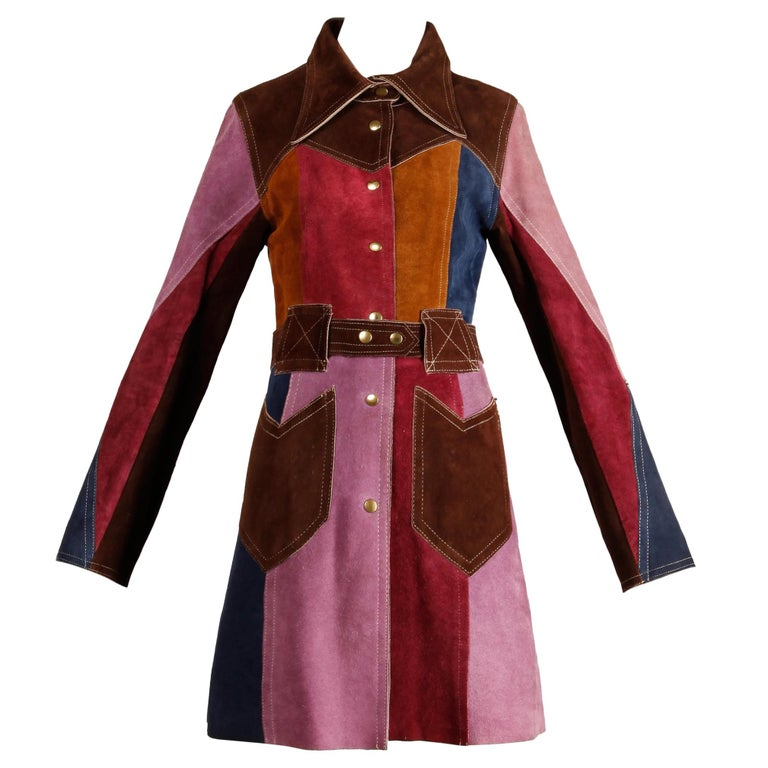 1970s Vintage Color Block Suede Leather Boho Coat with Snaps & Belt For Sale