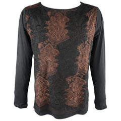 DRIES VAN NOTEN Size S Black Embroidery Cotton / Silk Pullover Sweater