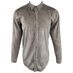 SILENT by DAMIR DOMA Size XS Grey Dyed Cotton Long Sleeve Shirt