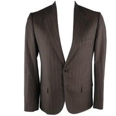MAISON MARTIN MARGIELA 42 Brown Stripe Wool Sport Coat