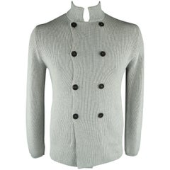 BRUNELLO CUCINELLI Size 42 Light Grey Knitted Cotton Cardigan Sweater