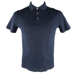 LOUIS VUITTON Size L Navy Solid Pique POLO