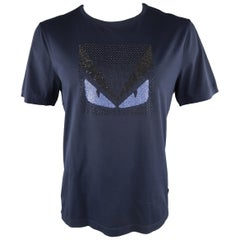 FENDI Size XL Navy Applique Cotton T-shirt