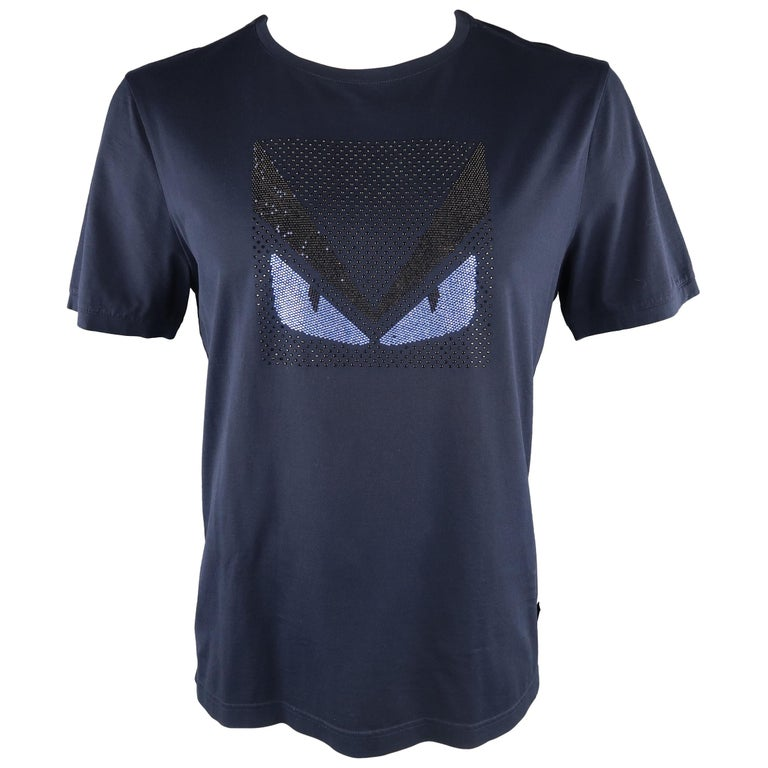 4a60388d447 FENDI Size XL Navy Applique Cotton T-shirt