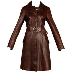 1970s Vintage Soft Buttery Brown Leather Trench Coat with Belt