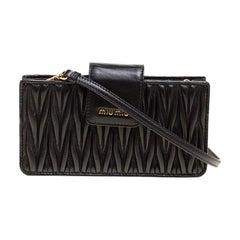 Miu Miu Black Matelasse Leather Phone Bag