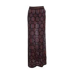 M Missoni Multicolor Striped Knit Chevron Pattern Maxi Skirt M