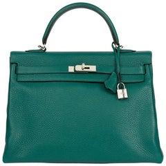 2013 Hermes Malachite Clemence Leather Kelly 35cm Retourne