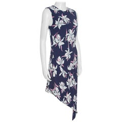 Marni Navy Blue Floral Printed Silk Georgette Asymmetric Dress M