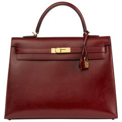 2013 Hermes Rouge H Box Calf Leather Kelly 35cm Sellier