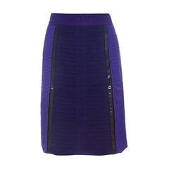 Bottega Veneta Purple and Brown Pleated Plastic Panel Detail Pencil Skirt S