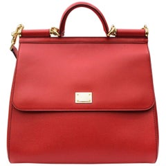 Dolce & Gabbana Red Leather Sicily Bag