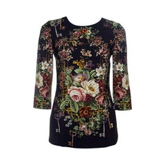 Dolce and Gabbana Black Key and Floral Print Long Sleeve Top S