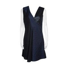 Stella McCartney Navy Blue Cloque and Metallic Jacquard Sleeveless Anita Dress M