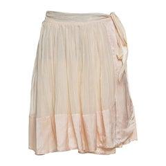 Chloe Champagne Cotton Satin Trim Detail Pleated Wrap Skirt M