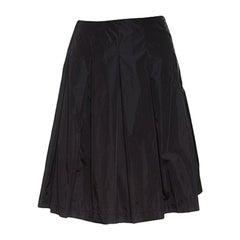Prada Black Pleated A Line Skirt M