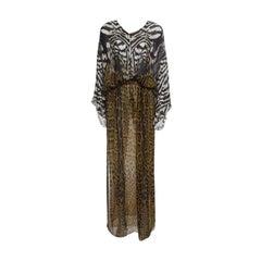 Roberto Cavalli Animal Printed Silk Chiffon Sheer Kaftan Maxi Dress M