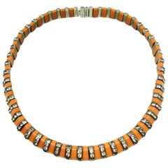 D.R.G.M soft salmon pink Bakelite and paste necklace, Germany 1930s