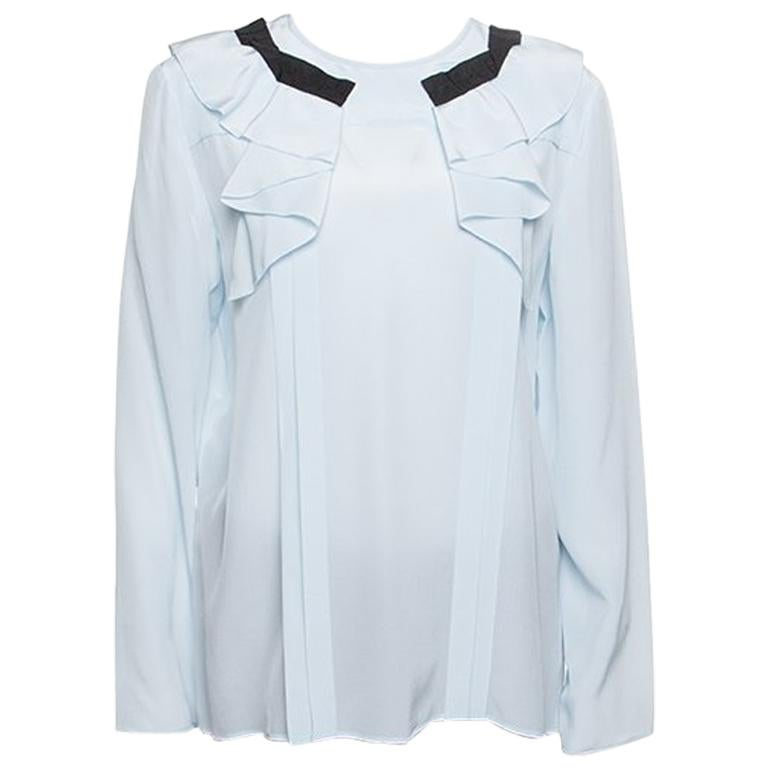 a5aba0f3f6f Miu Miu Sky Blue Silk Ruffle Detail Long Sleeve Blouse M at 1stdibs