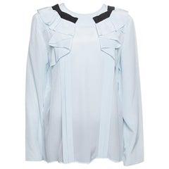 Miu Miu Sky Blue Silk Ruffle Detail Long Sleeve Blouse M