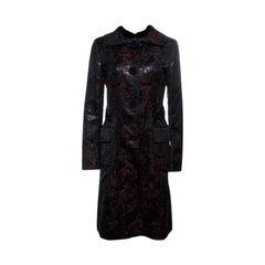 Dolce And Gabbana Black and Burgundy Metallic Floral Jacquard Long Coat M