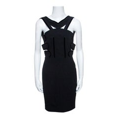 Roland Mouret Black Cutout Stretch Crepe Altamira Mini Dress M
