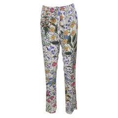 Gucci Off White New Flora Print Silk Tie Detail Pants S