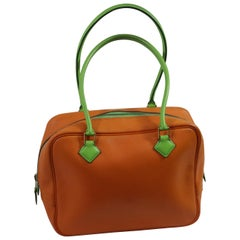 1994 Hermes Mini Plume 20 cm in Orange and Green Leather