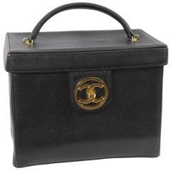 Chanel Vintage Rigide Vanity Case 90s Caviar Leather