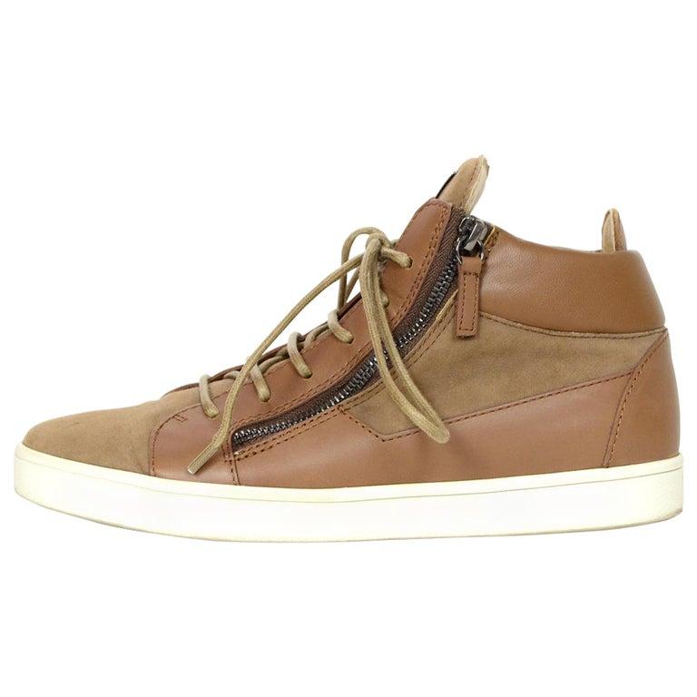 Giuseppe Zanotti Tan/Brown Suede/Leather High Top Sneakers Sz 38